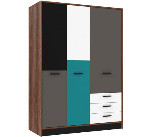 SKŘÍŇ ŠATNÍ, šedá, zelená, černá, bílá, barvy dubu - šedá/bílá, Design, kompozitní dřevo/umělá hmota (143,8/200/60cm) - Carryhome