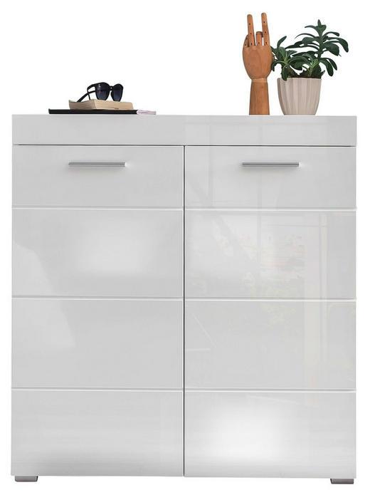 SCHUHSCHRANK foliert, Hochglanz, tiefgezogen Weiß - Silberfarben/Weiß, Design, Holzwerkstoff/Kunststoff (91/97/38cm) - Carryhome