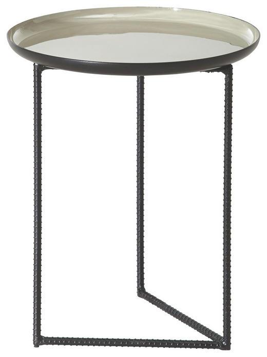 BEISTELLTISCH rund Braun, Schwarz - Schwarz/Braun, Design, Metall (31/37cm) - Carryhome