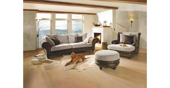 HOCKER in Textil Braun, Beige  - Beige/Braun, LIFESTYLE, Holz/Textil (74/50cm) - Landscape