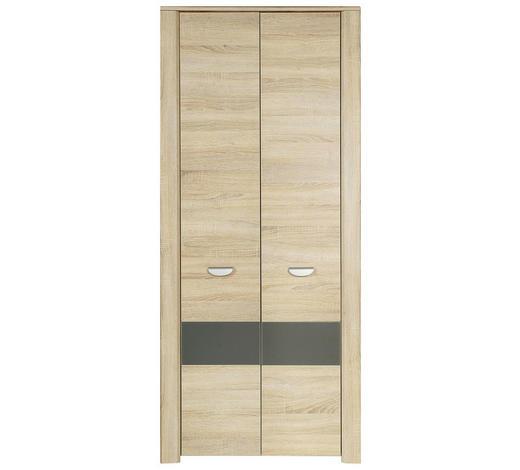 DREHTÜRENSCHRANK 2-türig Anthrazit, Eichefarben  - Eichefarben/Anthrazit, Basics, Holzwerkstoff (94/194/58cm) - Carryhome
