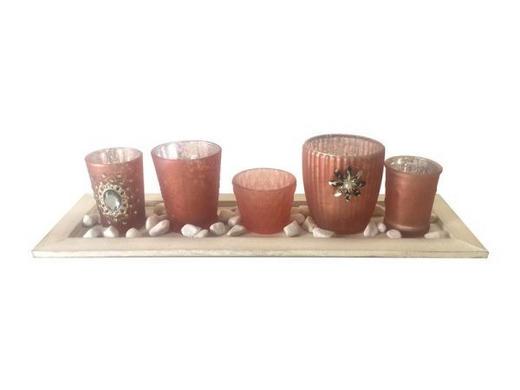 TEELICHTHALTER-SET 7-teilig - Rosa, Basics, Glas/Holz - Ambia Home