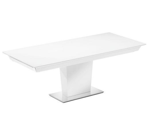 ESSTISCH in Holz, Metall, Glas, Holzwerkstoff 210(280)/95/74 cm - Edelstahlfarben/Weiß, Design, Glas/Holz (210(280)/95/74cm) - Bacher