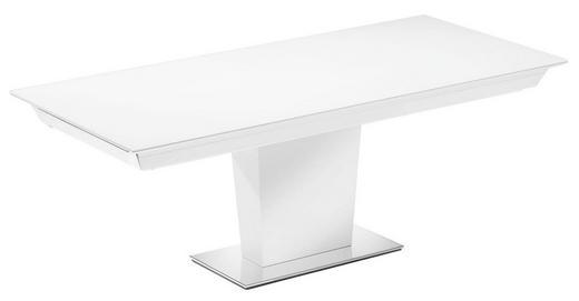 ESSTISCH rechteckig Edelstahlfarben, Weiß - Edelstahlfarben/Weiß, Design, Glas/Holz (210(280)/95/74cm)