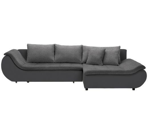 WOHNLANDSCHAFT in Textil Schwarz, Dunkelgrau - Dunkelgrau/Schwarz, Design, Kunststoff/Textil (310/185cm) - Carryhome
