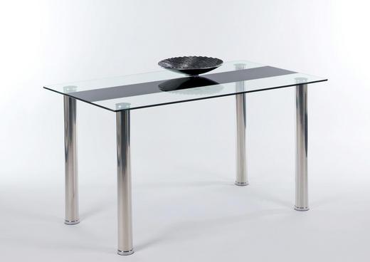 ESSTISCH Edelstahlfarben, Schwarz - Edelstahlfarben/Schwarz, Design, Glas/Metall (140/80/75cm) - Carryhome
