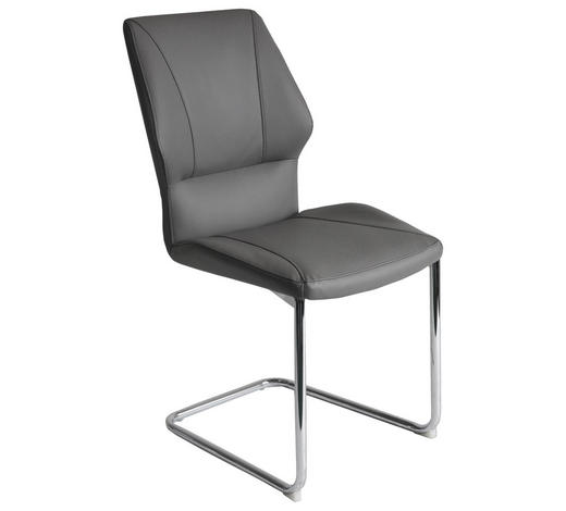 SCHWINGSTUHL Lederlook Grau, Chromfarben  - Chromfarben/Grau, MODERN, Textil/Metall (48/94/62cm) - Carryhome