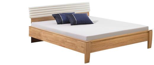BETT Eiche massiv 180/200 cm - Eichefarben/Weiß, Design, Holz/Textil (180/200cm) - Valdera