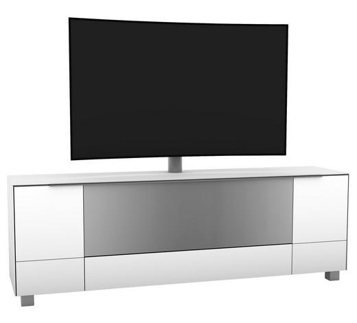 TV-ELEMENT Grau, Weiß  - Alufarben/Weiß, KONVENTIONELL, Glas/Metall (190,2/140,4/42cm)