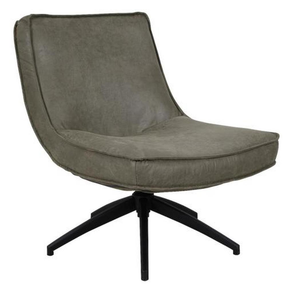 Mid.you Sessel Kombination Echtleder/Stoff Grün