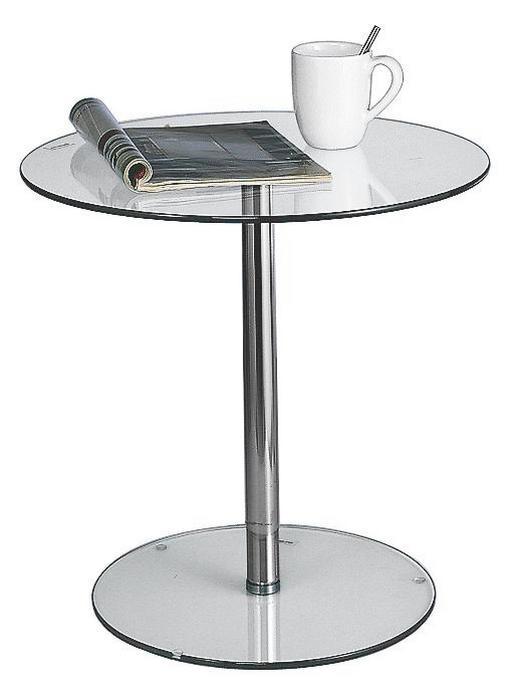 BEISTELLTISCH rund Chromfarben, Klar - Chromfarben/Klar, Design, Glas/Metall (55/51cm) - Carryhome