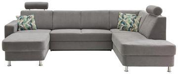 WOHNLANDSCHAFT in Textil Grau - Chromfarben/Multicolor, Design, Kunststoff/Textil (165/301/198cm) - Xora