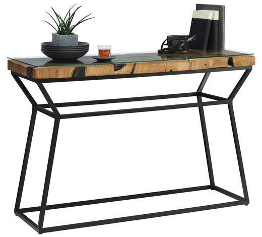 KONZOLOVÝ STOLEK, teakové dřevo, čiré, černá, barvy teak - barvy teak/černá, Lifestyle, kov/dřevo (120/80/40cm) - Landscape