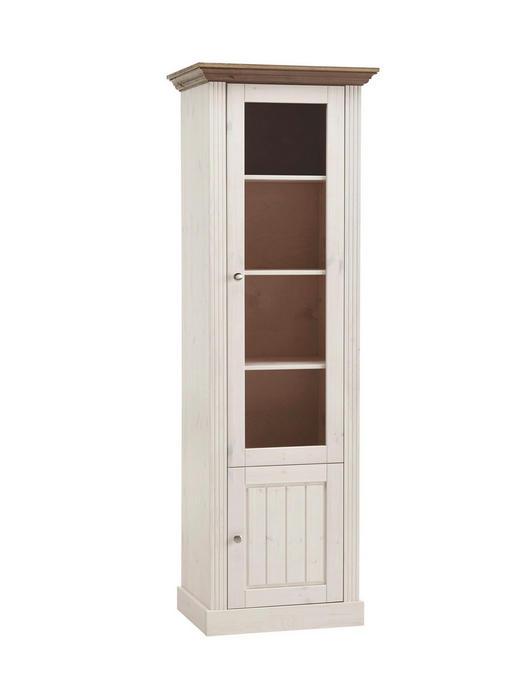 VITRINE Kiefer massiv Braun, Weiß - Silberfarben/Braun, LIFESTYLE, Glas/Holz (62,6/190/46,5cm) - Carryhome