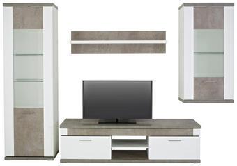 REGAL ZA DNEVNI BORAVAK - bijela/siva, Design, staklo/drvni materijal (300/207/52cm) - Xora