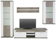 WOHNWAND in Grau, Weiß  - Weiß/Grau, Design, Glas/Holzwerkstoff (300/207/52cm) - Xora