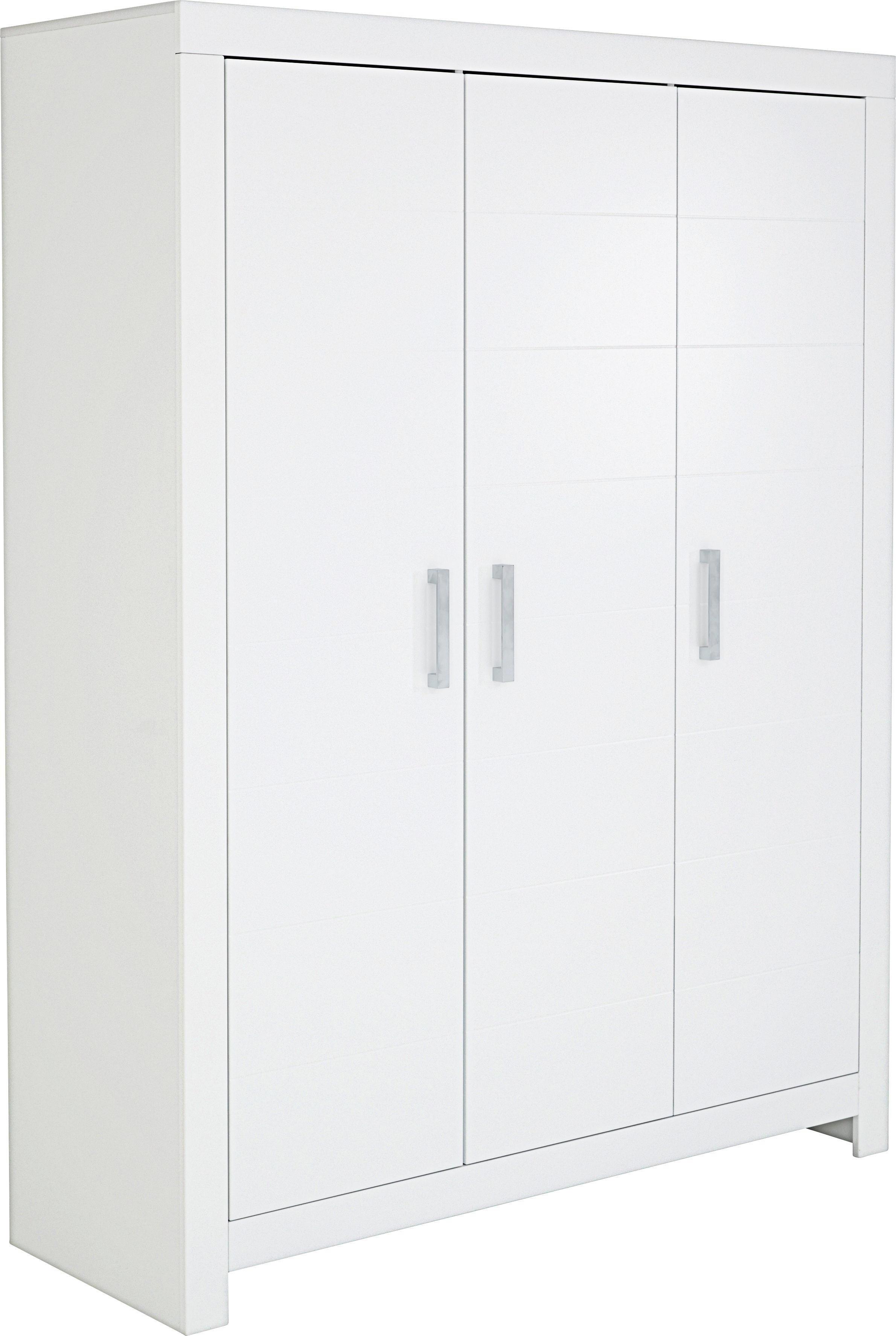 KLEIDERSCHRANK 3  Türig Weiß   Silberfarben/Weiß, Design, Holzwerkstoff  (156,
