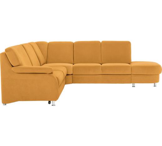 WOHNLANDSCHAFT Gelb  - Gelb/Alufarben, KONVENTIONELL, Textil/Metall (287/269cm) - Beldomo System