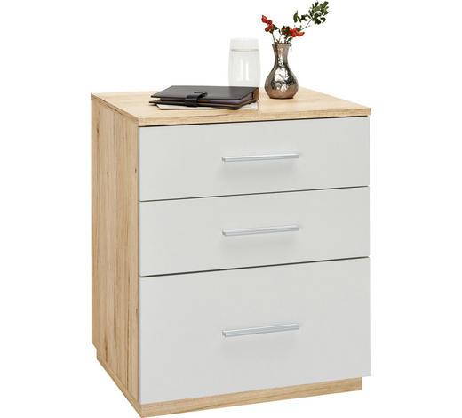 NACHTKÄSTCHEN in Weiß, Eichefarben  - Eichefarben/Weiß, Design, Holzwerkstoff/Kunststoff (50/60/40cm) - Carryhome