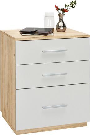 SÄNGBORD - vit/ekfärgad, Design, träbaserade material/plast (50/60/40cm) - Carryhome