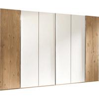 DREHTÜRENSCHRANK in massiv Eiche Eichefarben, Weiß - Chromfarben/Eichefarben, Design, Glas/Holz (299/222,3/57cm) - Valdera