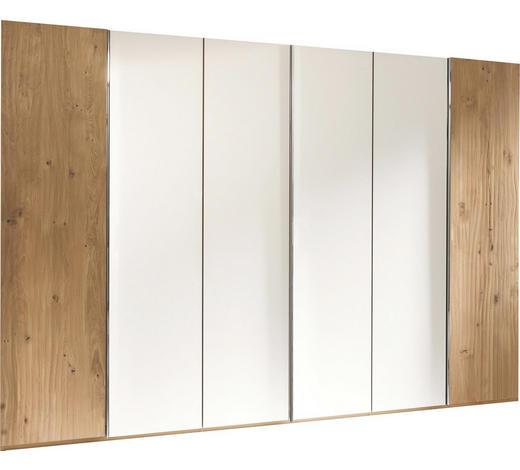 DREHTÜRENSCHRANK in massiv Eiche Weiß, Eichefarben - Chromfarben/Eichefarben, Design, Glas/Holz (299/222,3/57cm) - Valdera