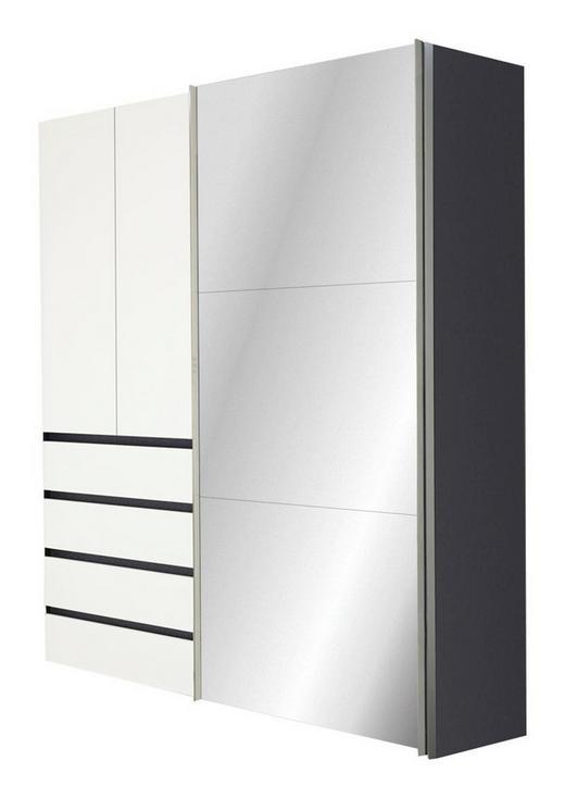 KLEIDERSCHRANK 3-türig Graphitfarben, Weiß - Graphitfarben/Alufarben, Design, Glas/Holzwerkstoff (200/216/68cm) - Hom`in
