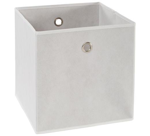 FALTBOX Metall, Textil, Karton Silberfarben, Weiß  - Silberfarben/Weiß, Design, Karton/Textil (32/32/32cm) - Carryhome