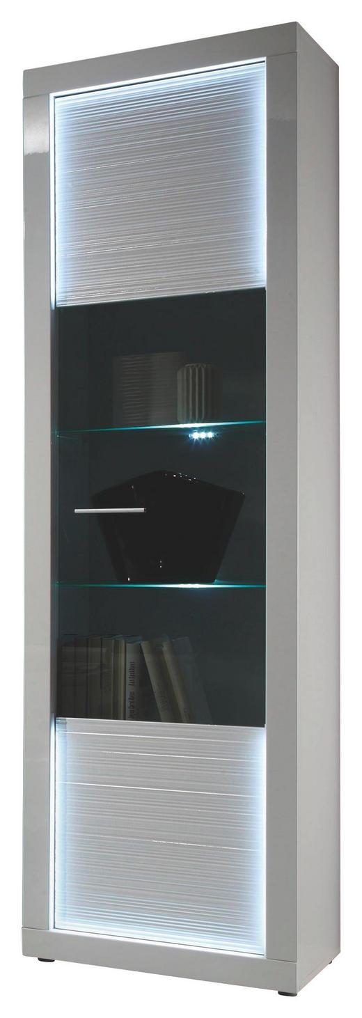VITRINE Weiß - Silberfarben/Weiß, Design, Glas/Kunststoff (60/204/41cm) - Carryhome