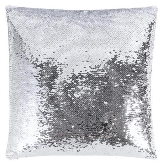 KISSENHÜLLE Silberfarben, Weiß 40/40 cm - Silberfarben/Weiß, Kunststoff/Textil (40/40cm)