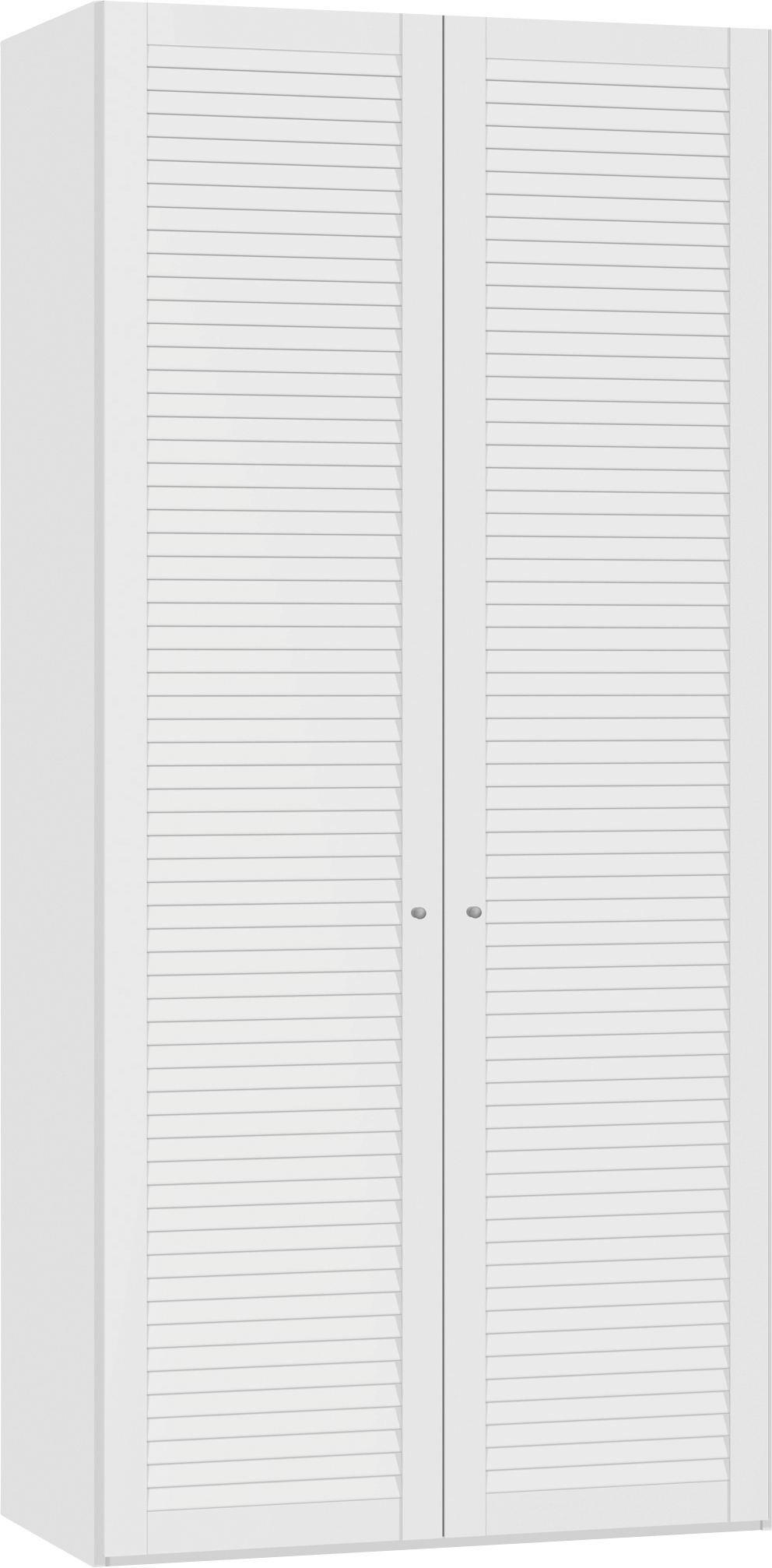 DREHTÜRENSCHRANK 2  -türig Weiß - Silberfarben/Weiß, Design, Holzwerkstoff/Metall (101,9/220/59cm) - JUTZLER