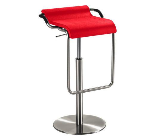 BARHOCKER in Rot, Chromfarben - Chromfarben/Rot, Design, Textil/Metall (47/70-97/42cm)