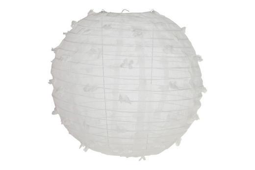 LAMPION  Weiß  Metall, Textil - Weiß, Trend, Textil/Metall (30cm)
