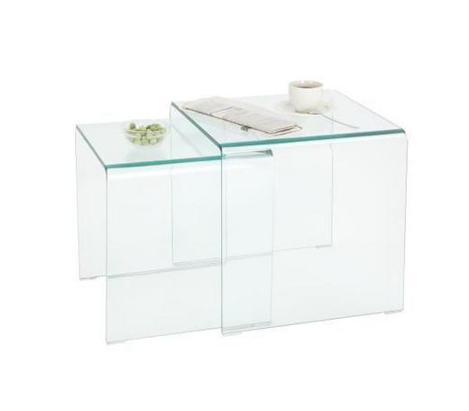 SADA STOLŮ - průhledná, Design, sklo (42/36/42/36/42/39cm)