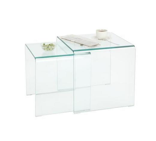 SADA STOLŮ - průhledné, Design, sklo (42/36/42/36/42/39cm)