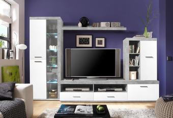 DNEVNI REGAL,  siva, bela - siva/bela, Design, umetna masa/steklo (290/190/48cm) - Boxxx