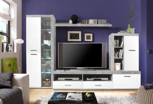 DNEVNI REGAL  bela, siva - siva/bela, Design, umetna masa/steklo (290/190/48cm) - Boxxx