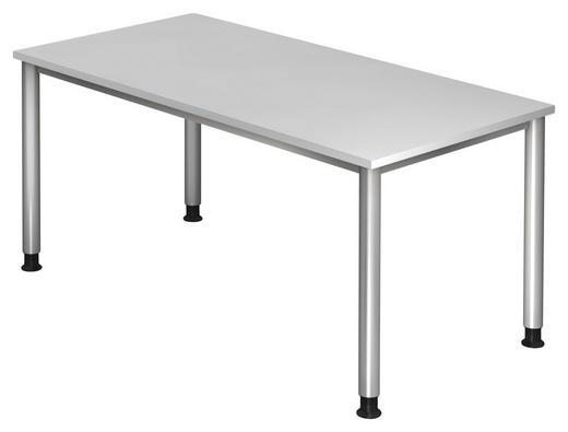 SCHREIBTISCH Silberfarben, Weiß - Silberfarben/Weiß, KONVENTIONELL, Metall (160/68-76/80cm)