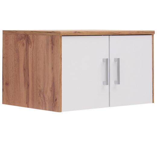 AUFSATZSCHRANK 72/43/54 cm Weiß, Eichefarben - Eichefarben/Silberfarben, Basics, Kunststoff (72/43/54cm) - Xora