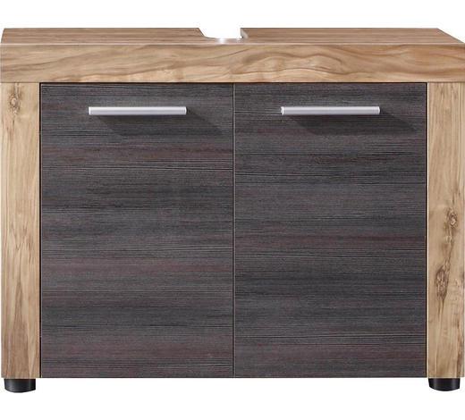 WASCHBECKENUNTERSCHRANK 72/56/34 cm - Dunkelbraun/Silberfarben, Design, Holzwerkstoff/Kunststoff (72/56/34cm) - Xora