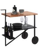 SERVÍROVACÍ VOZÍK, černá, barvy akácie - černá/barvy akácie, Trend, kov/dřevo (86/82/45cm) - Ambia Home