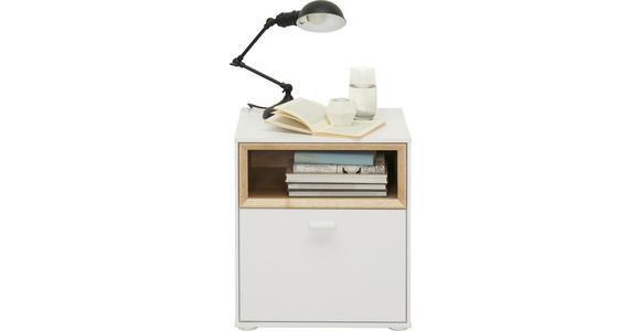 NACHTKÄSTCHEN in Weiß, Eichefarben  - Eichefarben/Weiß, Design, Holzwerkstoff/Kunststoff (41,8/48/40cm) - Hom`in