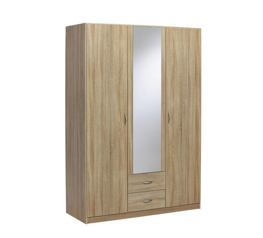 KLEIDERSCHRANK 3-türig Sonoma Eiche  - Silberfarben/Sonoma Eiche, Design, Holz/Kunststoff (136/197/54cm) - Carryhome