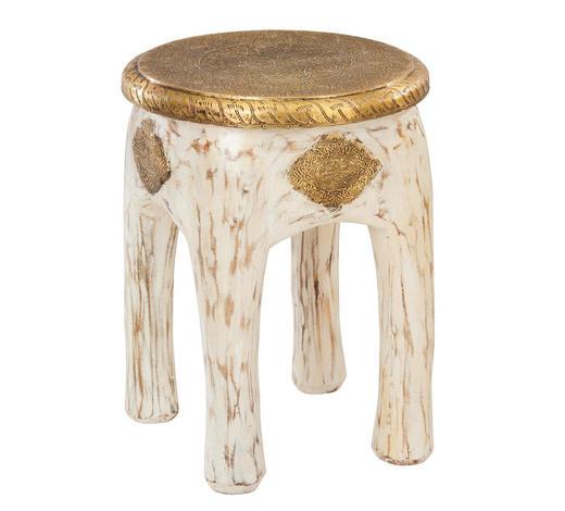 HOCKER in Holz, Holzwerkstoff Weiß, Goldfarben - Goldfarben/Weiß, Trend, Holz/Holzwerkstoff (34/45/34cm) - Ambia Home