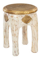 TABURET, dřevěný materiál, dřevo, barvy zlata, bílá - bílá/barvy zlata, Trend, dřevo/dřevěný materiál (34/45/34cm) - AMBIA HOME