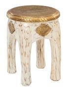 TABURET, mangové dřevo, bílá, barvy zlata - bílá/barvy zlata, Trend, dřevo/kompozitní dřevo (34/45/34cm) - Ambia Home