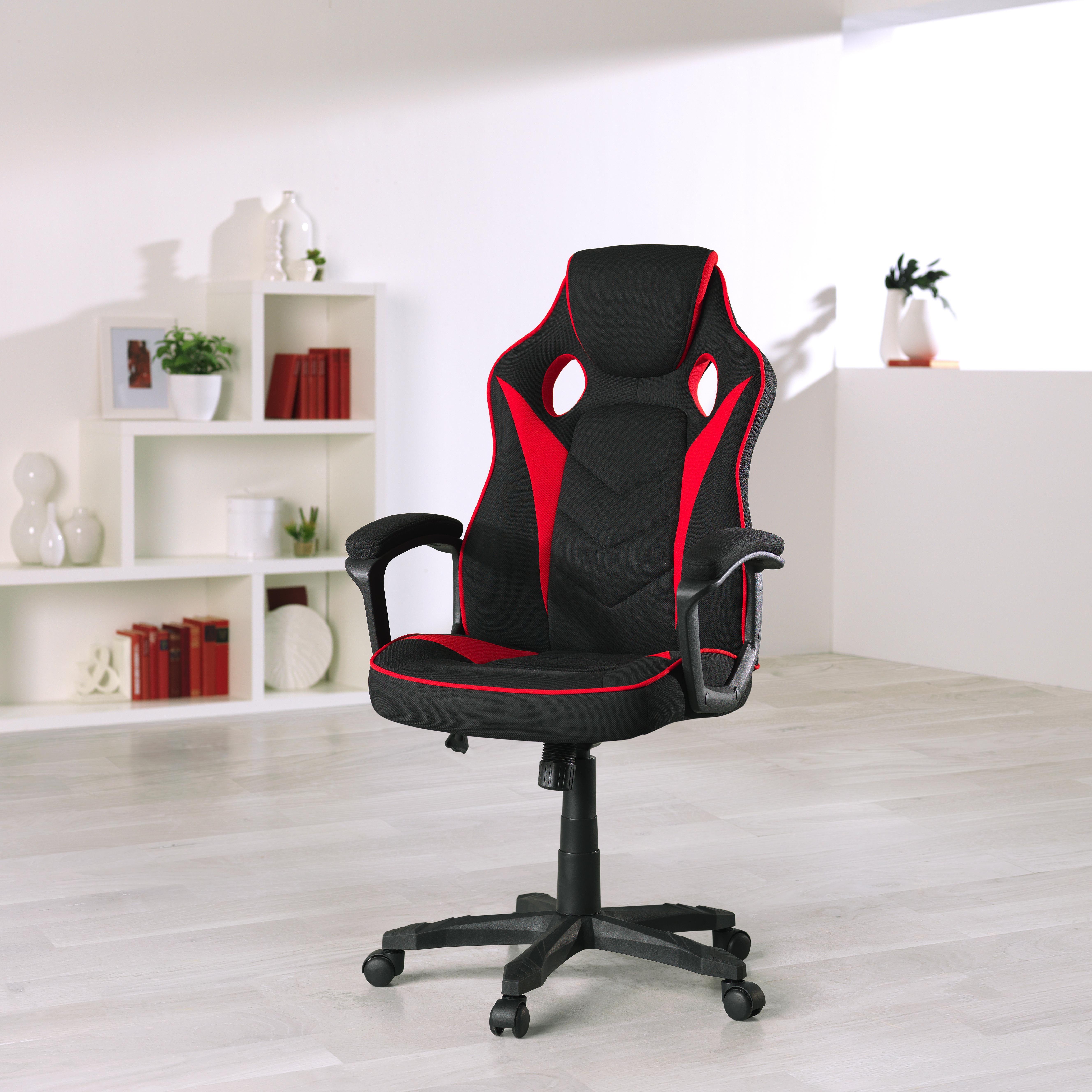 GAMINGSTOL - röd/svart, Design, metall/textil (65,5/110(120)/69cm) - Xora