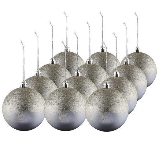 CHRISTBAUMKUGEL-SET 12-teilig Grau  - Grau, Basics, Kunststoff (8cm) - X-Mas