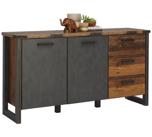 SIDEBOARD 168/88/42 cm - Anthrazit/Grau, KONVENTIONELL, Holzwerkstoff/Kunststoff (168/88/42cm) - Hom`in