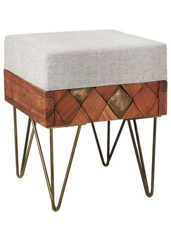 TABURE, les, kovina, tekstil naravna, akacija, bež  - naravna/bež, Trend, kovina/tekstil (37/46/37cm) - Ambia Home